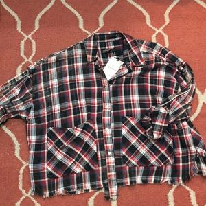 Distressed flannel t shirt
